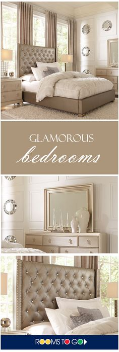 The chic Paris collection combines lavish design with smart organizational features and indulgent comfort to create your dream bedroom. Each piece is crafted of pine…More Bedroom Sets, Dream Bedroom, Home Bedroom, Bedroom Decor, Master Bedroom, Queen Bedroom, Sweet Home, Beautiful Bedrooms, Glamorous Bedrooms