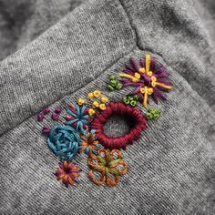 Patch it, mend it, or darn it—visible mending is hot! Transforming a worn piece of clothing with vibrant stitch work offers a great way to show off your handspun yarn. Embroidery Stitches, Embroidery Patterns, Hand Embroidery, Sewing Patterns, Sweater Embroidery, Knitting Patterns, Flower Embroidery, Fabric Crafts, Sewing Crafts