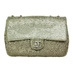 CHANEL Ombre Silver Strass Crystal Classic Mini Flap Bag | 1stdibs.com #1stdibsHoliday