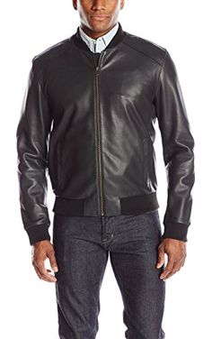 Cole Haan Men's Lamb Leather Varsity Jacket, Black, X-Large ❤ Cole Haan Men's Outerwear