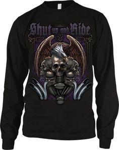 Shut Up And Ride Men's Long Sleeve Thermal, Motorcycle Biker Eagle Skulls and Engine Design Men's Thermal Shirt (Black, Medium)  http://bikeraa.com/shut-up-and-ride-mens-long-sleeve-thermal-motorcycle-biker-eagle-skulls-and-engine-design-mens-thermal-shirt-black-medium/