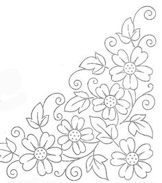 Colour it, sew it, trace it, etc. borders flower embroidery or redwork Embroidery Flowers Pattern, Hand Embroidery Designs, Applique Patterns, Ribbon Embroidery, Flower Patterns, Cross Stitch Embroidery, Beginner Embroidery, Mexican Embroidery, Vintage Embroidery