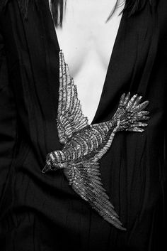 Dress with intricately embroidered bird; sewing; embroidery; close up fashion detail // Gucci Fall 2015