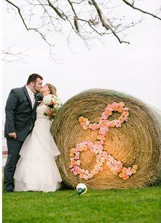 monogram on a round bale. | http://bestromanticweddings.blogspot.com