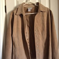 Suede jacket . Genuine leather suede jacket. Gorgeous tan color . Gently used - good condition. Fully lined . Long sleeve. Snap front. Lightweight . Great transition piece. Coldwater Creek Jackets & Coats Jean Jackets