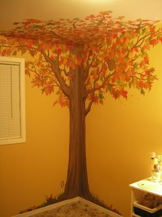 painted tree on wall - Cool idea for kids room or reading centre in a classroom!