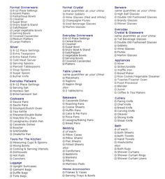 Printable Wedding Registry List