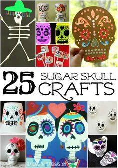 25 Day of the Dead Crafts for Kids. Celebrate Day of the Dead with your kids and these 25 great crafts. Click now. #DayoftheDead