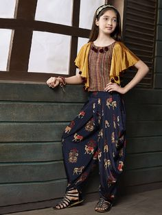Yellow and navy silk dhoti suit - G3-GSS1046 | G3fashion.com