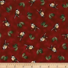 Winter Birds Tossed Chickadees Red from @fabricdotcom  Licensed to MHS for Quilting Treasures, this fabric is perfect for quilting, apparel and home décor accents.  Colors include green, brown, tan and white on a red background.