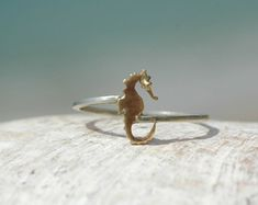 Golden Seahorse Ring - 9 K gold seahorse on a silver band -Handmade Ocean Jewellery by Sophie Jade Jewellery