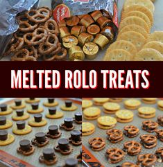 Easy Melted Rolo Treats with Ritz Crackers & Pretzels - - check it out later Ritz Crackers, Desserts To Make, Delicious Desserts, Rolo Cookies, Rolo Pretzels, Pretzel Snacks, Pretzel Bites, Galletas Ritz, Ritz Cracker Recipes
