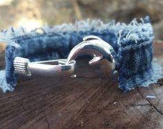Upcycled Frayed Denim Bracelet with Czech by DenimReDooz on Etsy