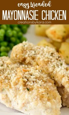 Baked Mayonnaise Chicken is melt in your mouth delicious! It is an easy chicken dish that is sure to become a family favorite! #mayonnaisechicken #mayochicken #parmesanchickenwithmayo #parmesanmayonnaisechicken #bakedchicken #creationsbykara Chicken Appetizers, Easy Chicken Dinner Recipes, Fun Easy Recipes, Best Chicken Recipes, Chicken Flavors, Delicious Dinner Recipes, Beef Recipes, Easy Meals, Chicken And Beef Recipe