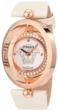 Versace Women s 80Q81SD497 S002 Eon Three Rings Rose-Gold Plated 40-Diamond  Mother- 994174d4266