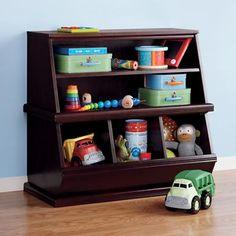 Kids' Storage Bins: Kids Espresso Storage Unit in Toy Boxes Kids Storage Bins, Toy Storage Baskets, Toy Bins, Small Space Storage, Easy Storage, Storage Ideas, Big Toy Box, Baby Laden, Living Room Toy Storage