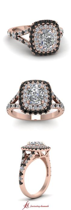Cushion Twin Halo Ring || Cushion Cut Diamond Halo Ring With Black Diamond In 14k Rose Gold