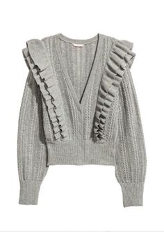 d6b977029184c4 H&M Grey Melange Ruffled Cardigan - Size 4   eBay Double Volant, Short  Sleeve Cardigan