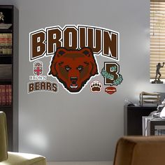 Fathead Brown Bears Logo Wall Decals, Multicolor