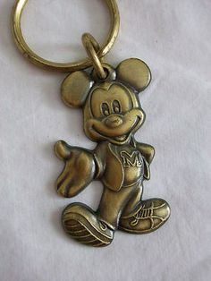 Walt Disney Mickey Mouse Brass Key Chain Ring - Free Shipping