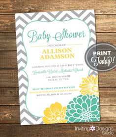 Possible invite with teal instead of mint, can make horizontal too. Neutral Baby Shower Invitation Mint Green by InvitingDesignStudio