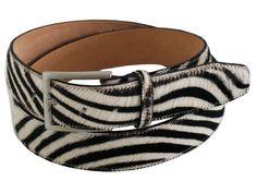 Horse leather woman's belt color white-black