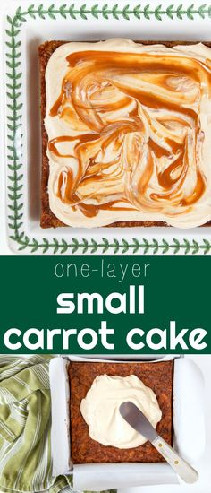 Small single-layer carrot cake with caramel cream cheese frosting. Sin… Small single-layer carrot cake with caramel cream cheese frosting. Single layer cakes are perfect for small parties. One layer carrot cake with caramel frosting. Mini Carrot Cake, Carrot Cake With Pineapple, Easy Carrot Cake, Gluten Free Carrot Cake, One Layer Carrot Cake Recipe, One Layer Cakes, Single Layer Cakes, Easy Cake Recipes, Dessert Recipes