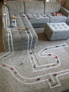 DIY Race Track via livingrichwithcoupons: Make it with  tape. #DIY #Kids #Race_Track