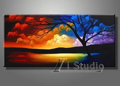 "24""x48""Framed! Modern hand-painted Art Oil Painting Wall Decor canvas"