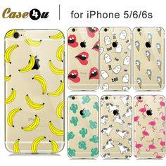 柔らかい透明ファッションフルーツバナナユニコーンセクシーな唇クリアcaseカバー用iphone7プラス6 s 6 5 iphoneフードcapinhas capaシェル