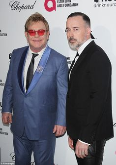 22 years: Elton and his husband David Furnish attend the event that Elton has hosted for over two decades in Hollywood, the Elton John Oscar viewing party, with proceeds going to the Elton John AIDS Foundation.
