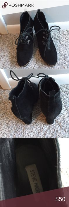 Steve Madden wedge bootie High wedge suede bootie, nice condition Steve Madden Shoes Ankle Boots & Booties