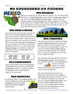 Great for introducing Fiesta Fatal by Mira Canion! This is a reading activity about Mexico's geography that includes a Spanish reading, English comprehension questions, and an activity for students to create a geographical map from the reading.   *Made by Sra Dentlinger at sradentlinger.wordpress.com