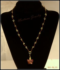Chocolate - Chocolate and Gold color necklace with Swarovski butterfly pendant  http://MartianaJewelry.etsy.com