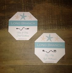 d616b40f301 Items similar to Beach Badge Place Cards and Table Names or Numbers -  Turquoise Teal and Tan Starfish - Wedding or Party on Etsy