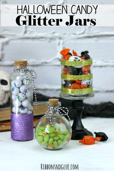 DIY Halloween Candy Glitter Jars. Glass jars turned in to spooky cute Halloween Glitter Jars using double sided tape, decopage and glitter. #StickItToLint #cbias @walmart #ad