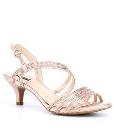 14936e25c00 Alex Marie Layona Jeweled Satin Dress Sandals. Rose Gold Shoes HeelsLow ...