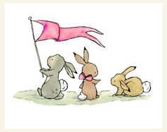 Baby Art -- Bunny Parade in bubblegum pink 8X10 -- Art Print. $20.00, via Etsy.
