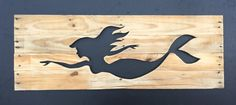 Rustic Swimming Mermaid Cutout from reclaimed wood, home wall decor silhouette