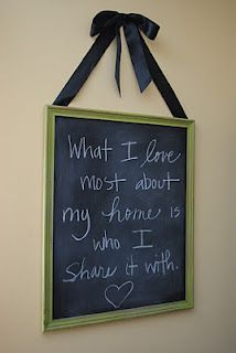 I like the idea of the chalkboard, I ca change the quote whenever.