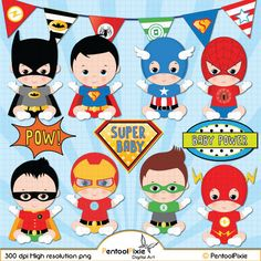 Superhero baby boy clipart Super baby Baby boys by PentoolPixie