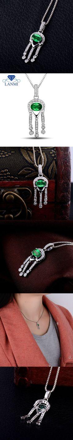 Luxury Solid 18Kt White Gold Good Quality Emerald Pendant Necklace Genuine Gemstone Diamond Wedding Jewelry for Women Gift