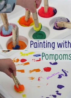 Here is a list of creative and easy pom pom activities and crafts for toddlers and preschoolers. From sensory and learning activities to arts and crafts! Toddler Preschool, Toddler Crafts, Preschool Crafts, Crafts For Kids, Arts And Crafts, Letter P Activities, Fun Activities For Kids, Preschool Activities, Toddler Sensory Activities