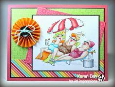 Art Impressions: Ai Girlfriends: Loungers Set (Sku #4473): handmade beach themed card.