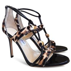 """Condition: Brand new with no box. The original retail price is $1050+TAX.  http://us.jimmychoo.com/en/shoes-2/vernice/natural-leopard-print-pony-and-black-patent-sandals-VERNICELPT116.html  Size: 39  Measurements:  Insole: 9 5/8"""" Width: 3"""" Heel Height: 4"""" Material: Pony Hair and Patent Leather Origin: Italy"""
