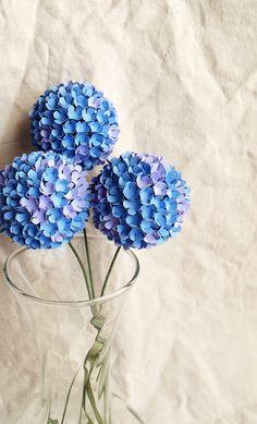 Blue and Purple Hydrangea Bouquet- wedding, bride, centerpiece. $36.00, via Etsy.