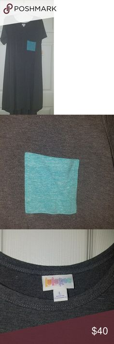New LuLaRoe Carly Dress Large Gray & Aqua New w/tags Large Lularoe Carly dress. A heather medium gray color with a heathered blue pocket. From pet free and smoke free home. Super soft. 62% polyester, 34% rayon, 4% spandex. LuLaRoe Dresses High Low