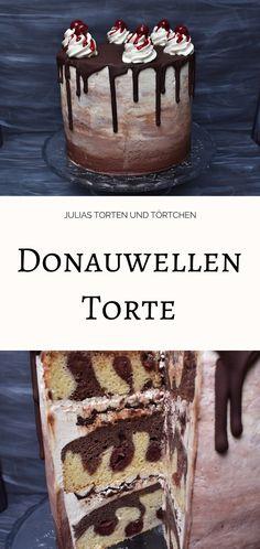 Rezept für Donauwellen Torte, der deutsche Kuchenklassiker Donauwelle mal als Dripped Cake / Ombre Dripped Cake