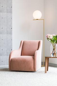 the Amelia armchair in pink Mohair velvet. Available with or without a swivel back, the Amelia is a supportive design, with a contemporary shape. Manufactured to order by Arthur G in Melbourne. #australiandesign #customarmchair #pinkchair #bedroomchair #australianfurniture