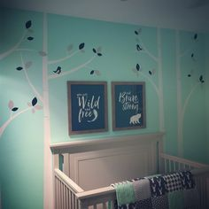 Liam's woodland nursery is almost ready! Baby boy nursery mint navy and gray.